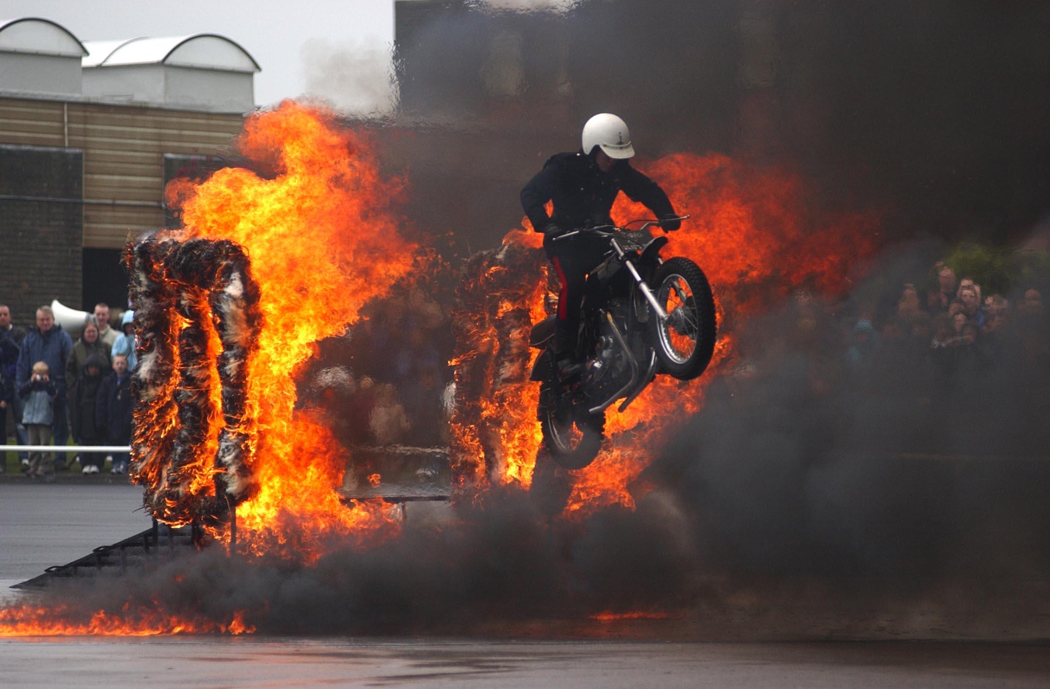Fire jump White Helmets motorcycle display team